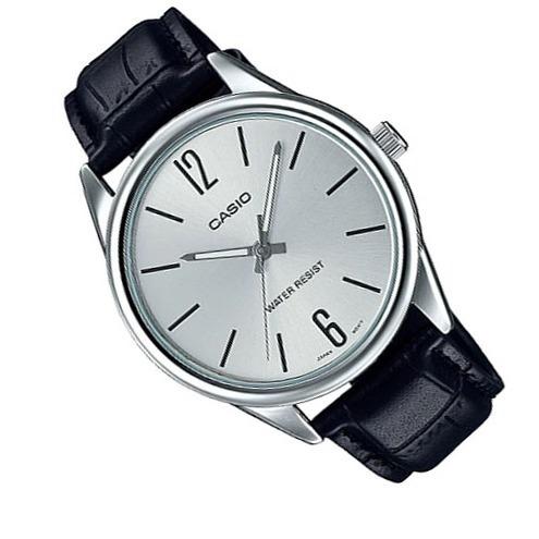 Relógio Casio Mtp-v005l 7audf Prata Pulseira Couro C/caixa