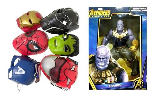Boneco Figura Thanos Avangers Articulado + Kit Mascaras