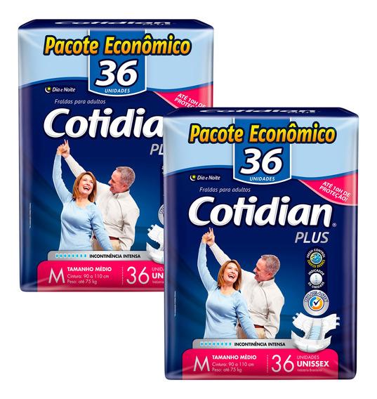 Kit 02 Fraldas Descartáveis Adulto Cotidian Plus-m-com 72 Un