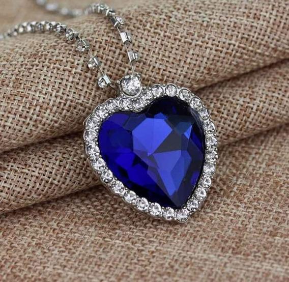 Colar Coração Titanic Namorados Azul Pedras Zirconia Luxuoso