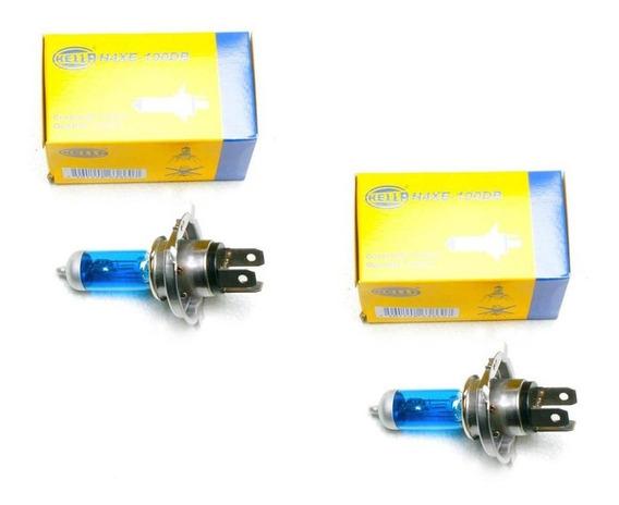 Foco H4 Luz Blanca Dark Blue 100-80 Watts 2 Focos Hella