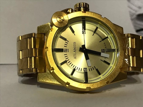 Relógio Masculino Atlantis A3283 Resistente A Água Dourado