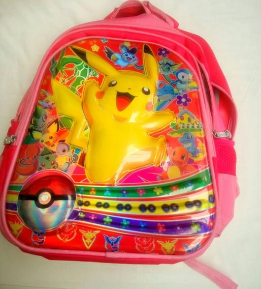 Mochila Escolar Pikachu, Con Diseño Tipo 3d