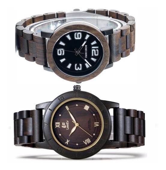 2 Relógios Pelo Preço De 1 ( 1 Bobo Bird + 1 Lee Ev )