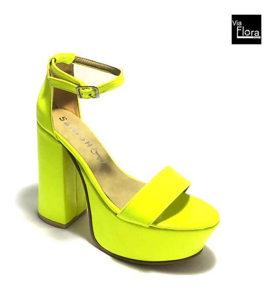 Sandalias De Fiesta De Mujer Verde Fluor Taco Alto (sa/952)
