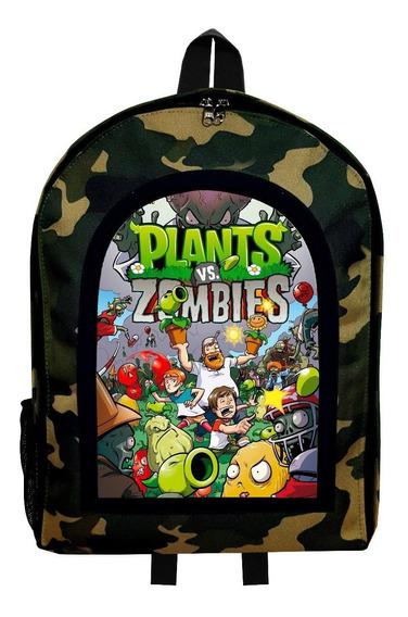 Mochila Reforzada Camuflada Plantas Vs Zombies 3 Givan