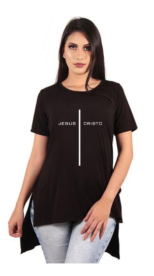Camiseta Blusa Camisa Camiseta Long Feminina Estampada