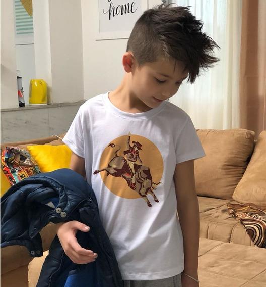 Camiseta Masculina Infantil Tourada Rodeio Imagem Country