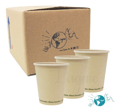 Lagnie 50 Vasos Bambú Biodegradables 8 Oz, 236 Mililitros