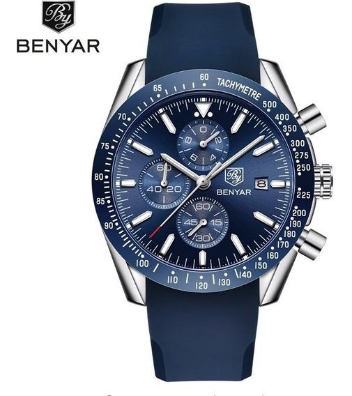 Relógio Masculino Borracha Benyar Social Analógico Azul Novo