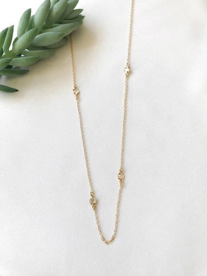 Colar Tiffany Longa Dourada Com Aplicação De Zircônias Folhe