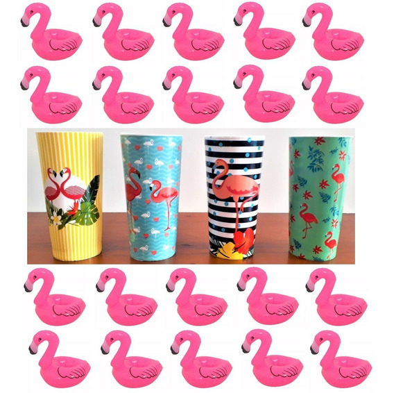 Boia Flamingo Porta Copo Kit 12 + Kit 12 Copo Tema Flamingo