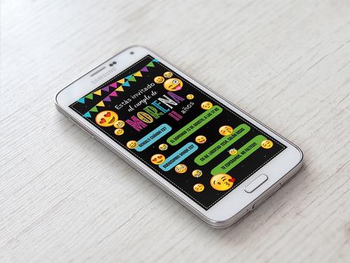 Tarjeta Invitación Cumpleaños Digital Emojis Whatsapp
