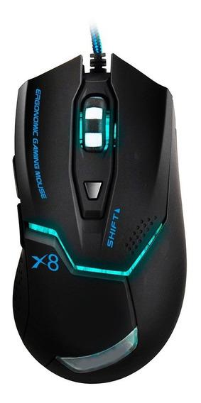 Mouse Gamer Estone X8 2400dpi Ergonomic Laranja E Branco