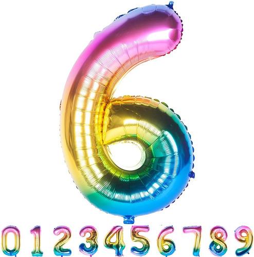 Globos Metalizados De Números Multicolor 40cm