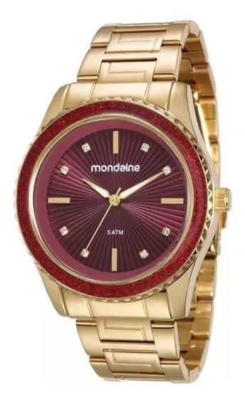 Relógio Mondaine Feminino Dourado E Vermelho 76568lpmvde4