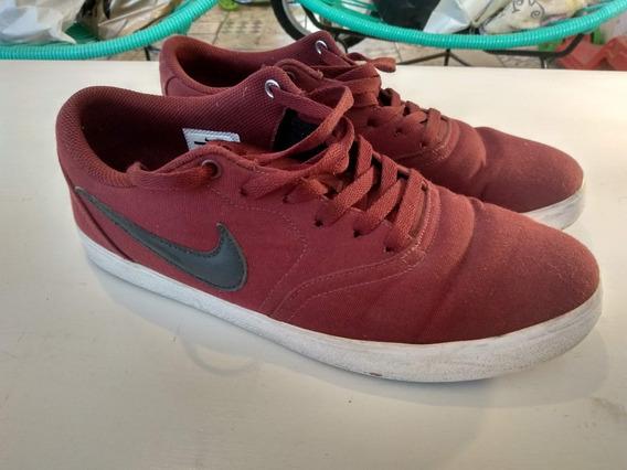 Zapatillas Nike Sb Hombre Bordó Talle 42.5 Casi Nuevas