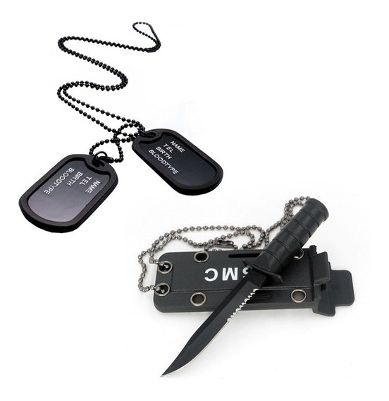Kit Dog Tag Militar Dupla Emborrachada + Cordão Mini Faca