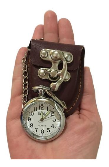 Relógio De Bolso Quartz Aço Inox Com Compartimento Em Couro