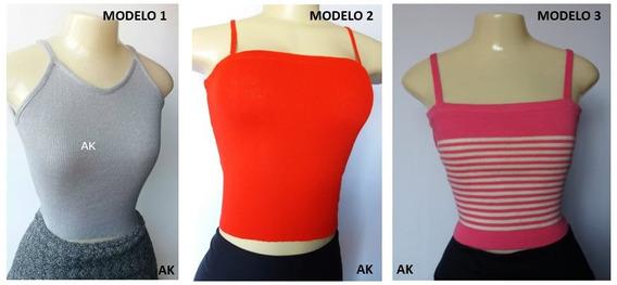 Kit 3 Blusa Regata Cropped Feminina Ribana Canelado Atacado