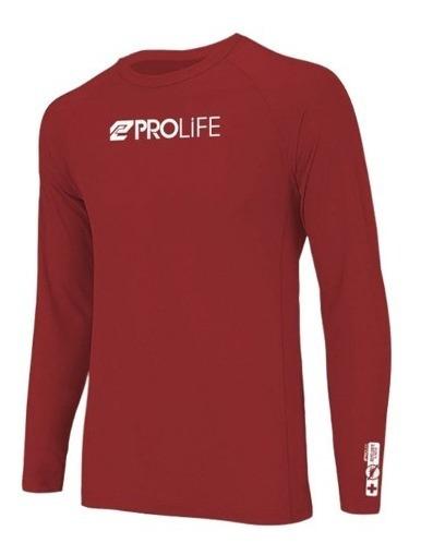 Blusa Prolife Masculina Repelente Uv 50+ Vermelho Prolife