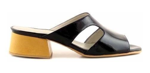 Sandalia Zueco Cuero Briganti Mujer Zapato Taco Mcsd04718 Vh
