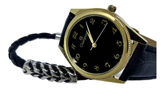 Relógio Champion Masculino Analógico Pulseira Couro Social