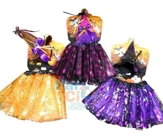 Set Infantil Bruja Disfraz Nena Sombrero Pollera Halloween