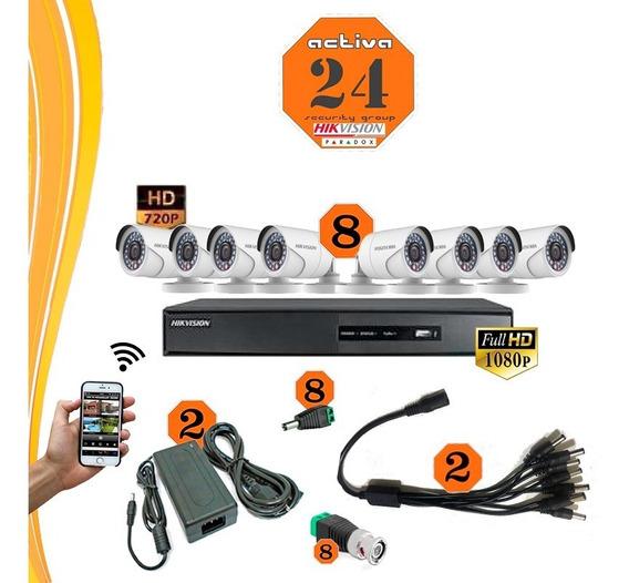 Camas Kit Seguridad Hikvision Dvr 16ch+ 8 Camaras+fichas+fue