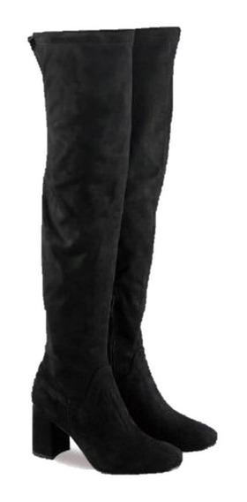 Botas Bucaneras Elastizadas Gamuza Botas Largas Mujer Taco