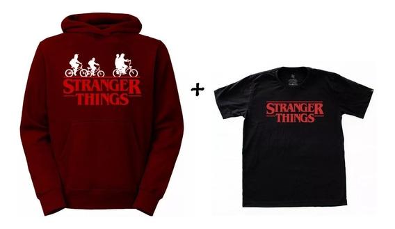 Kit Blusa De Frio Moletom + Camisa Camiseta Stranger Things