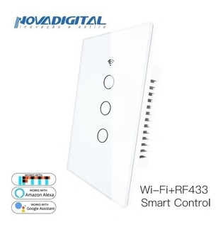 Nova Interruptor Touch Led 3 Botões Rf433 Wi-fi Google Home