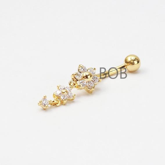 Piercing Umbigo Flores Banhado Ouro C/ Pedras Zircônia