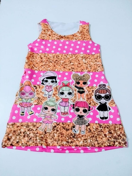 Vestido Trapézio Suplex Infantil Lol Minnie Moana Frozen Tam 4
