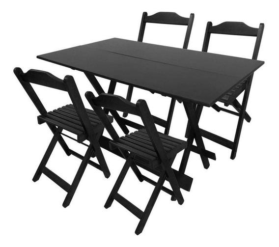 Conjunto De Mesas De Bar 120 X 70 Com 4 Cadeiras Dobráveis