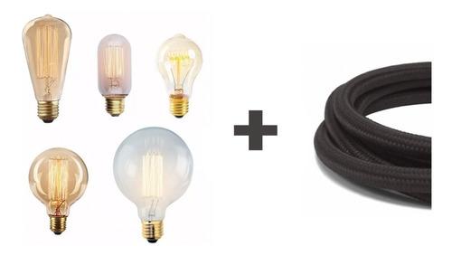 Imagen 1 de 7 de 10 Lamparas Filamento Carbono + 10 Metros De Cable Textil Enviogratis