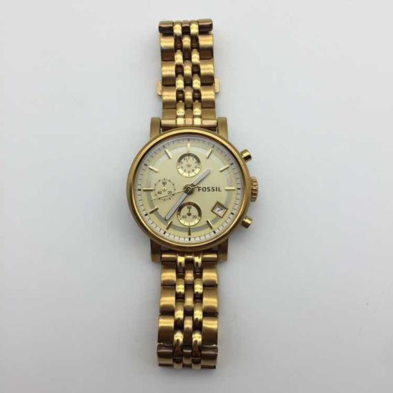Relógio Feminino Fossil Original Inox Dourado Lindo