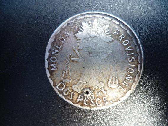 Antigua Moneda De $ 2.00 Revolución 1915 Oaxaca Plata.