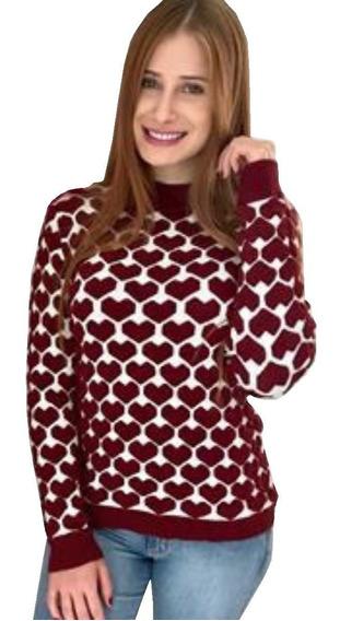 Blusa De Frio Manga Longa Feminina Coração 3d Lançamento