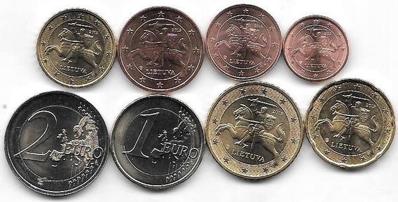 Serie 8 Monedas Euro Lituania Año 2015 Sin Circular