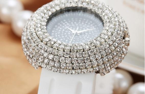 Relógio Feminino Pulso Strass Quartz Luxo Branco Lindo