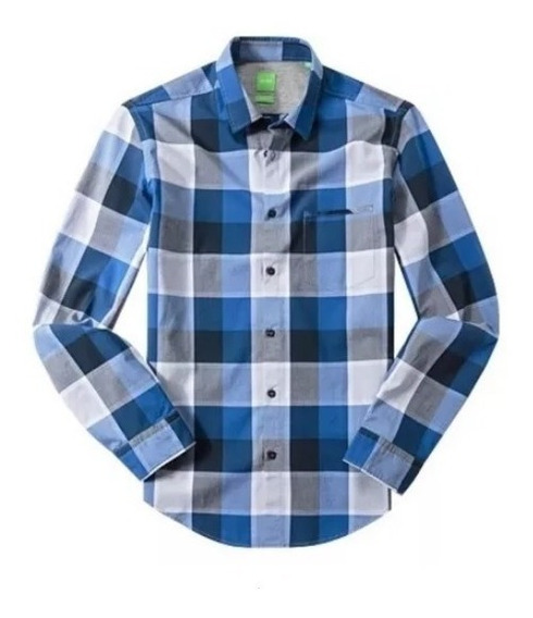 Camisa Hugo Boss Green C- Bansi Mediana (modern Fit) Azul