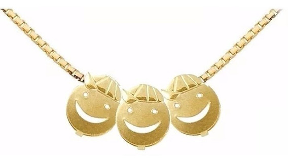 Cordão Ouro 18k + 3 Pingentes De Ouro18k Menino -viagold C29