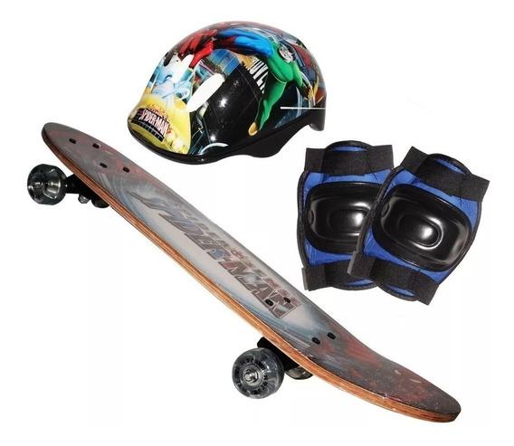 Skate Infantil Vingadores Kit Segurança Frete Grátis Imediat