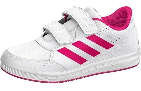 Tenis Escolar adidas Blancos Con Rosa Alta Sport Cf K Ba9450
