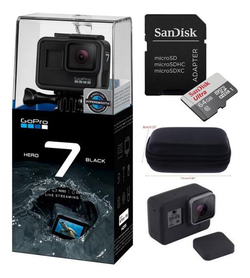Câmera Gopro Hero7 Black+cartão Ultra 64+ Case+capa Silicone