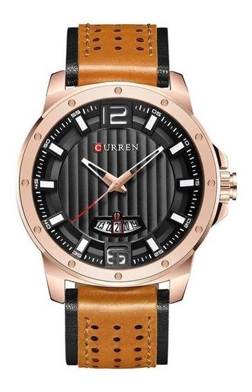 Relógio Masculino Original De Couro Marrom Com Dourado Luxo