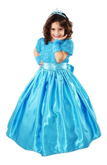 Vestido Festa Princesa Cinderela Frozen Luxo C/ Luva E Tiara