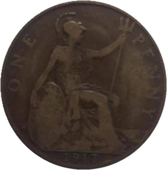 Onesmile:) Gran Bretaña Moneda De 1 Penny Año 1917