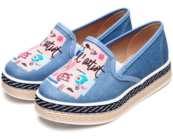 Slip On Infantil Molekinha Desenhos Corda - Azul